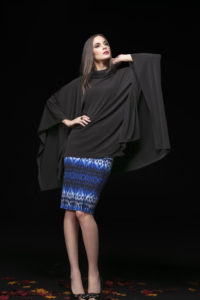 2Cowl Neck Poncho, PCW-6012 Black. Pencil Skirt , TB-4000 RL Print