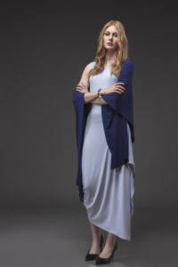 Angled Dress, ANG-5002 Ice Blue. Shawl, SHL-6003 Royal Blue. - Copy