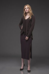 Deco Top DEC-1016 Brown. Slim Skirt with Slit, SLS-4007 Aubergine.