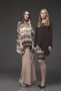 Oversize Top, OVS-1006 Br Print. Palazzo Pant, PLT-3000 Camel. Point Full Sleeve Top, PFT-1013 Brown. Pencil Skirt, TB-4000 BR Print.