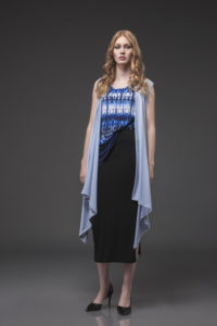 Vest, VST-6005 Ice Blue. Slim Side Slit Tank (L) SLS-1013 RL Print. Slim Skirt with Slit, SLS-4007 Black.