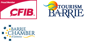 Proud member of CFIB, Tourism Barrie and Barrie Chamber of Commerce